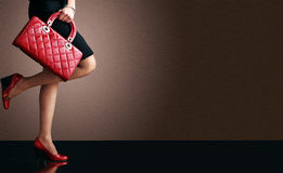 Fashion photo, Woman legs with handbag Stock Photo
