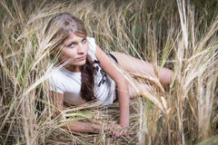 Fashion photo of young beautiful woman Stock Images