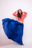 Fashion photo of young magnificent woman in blue dress. Studio photo Stock Image