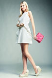 Fashion photo of young magnificent woman. Girl with handbag Royalty Free Stock Images