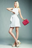 Fashion photo of young magnificent woman. Girl with handbag Royalty Free Stock Photo