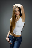 Fashion photo of young magnificent woman. Girl posing. royalty free stock image