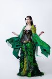 Fashion photo  young magnificent woman in green Royalty Free Stock Photos