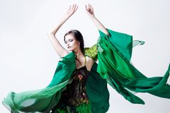 Fashion photo  young magnificent woman in green Royalty Free Stock Image