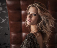 Fashion photo of young magnificent woman in luxury dress. Royalty Free Stock Photos