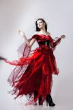 Fashion photo of young magnificent woman in red Royalty Free Stock Photos