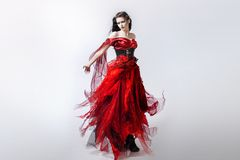 Fashion photo of young magnificent woman in red Royalty Free Stock Image