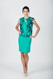 Fashion photo of young magnificent woman in a turquoise dress Royalty Free Stock Photo