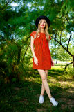 Fashion photo of young magnificent woman wearing fashionable summer clothes Royalty Free Stock Photos