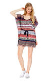 Fashion photo of young magnificent woman wearing fashionable summer clothes Royalty Free Stock Images