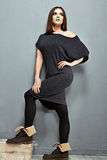 Fashion photo of young model. Black dress. Stock Photos