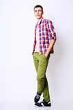 Fashion photo of young model man on white background. Boy posing. Studio photo. stock photo