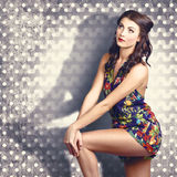 Fashion photo. Young pinup woman with retro makeup Stock Image