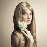 Fashion photo of a young woman with blond hair Royalty Free Stock Image