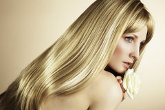 Fashion photo of a young woman with blond hair Stock Photo