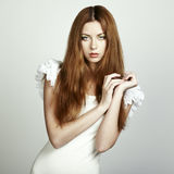 Fashion photo of a young woman with red hair Royalty Free Stock Images