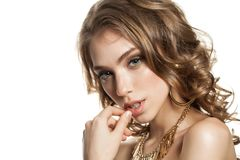 Fashion Photo of Young Woman with Wavy Brown Hair Royalty Free Stock Image