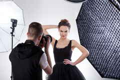 Fashion photography. Professional fashion photography in studio with softboxes Royalty Free Stock Photo