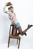 Fashion photoshoot. With a beautiful girl stock photo