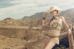 Fashion pictures of a sexy woman. Wearing cowgirl clothes Stock Photos