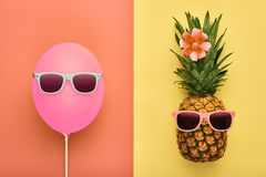 Fashion Pineapple. Air Balloon. Summer.Minimal Fun Stock Photography