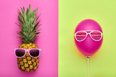Fashion Pineapple. Air Balloon. Summer.Minimal Fun Royalty Free Stock Photo