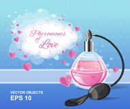 Fashion pink elegance perfume bottle with a spray. Pheromones of love. Romantic design. Vector illustration. Fashion pink elegance perfume bottle with a spray Stock Photography