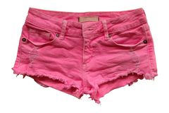 Fashion pink jean shorts lack handmade with on white background. The Fashion pink jean shorts lack handmade with on white background royalty free stock images