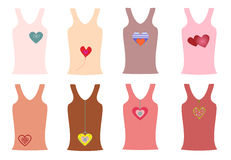 Fashion pink shirts with a print of hearts  illustration Stock Photos