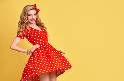 Fashion PinUp Girl in Red Polka Dots Dress.Vintage Royalty Free Stock Images