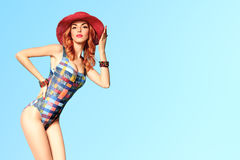 Fashion. PinUp Model woman in Swimsuit. Summer Stock Photography