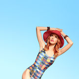 Fashion. PinUp Model woman in Swimsuit. Summer Royalty Free Stock Images