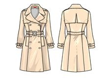 Fashion Plate: Trench. An accurate technical illustration about a classical trench coat Royalty Free Stock Photo