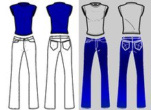 Fashion Plates Shirt & Blue Jeans. An accurate illustration about useful fashion_plate base of female blue jeans and t-shirt Stock Photo