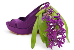 Fashion platform shoe with flower close-up Stock Photos