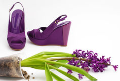 Fashion Platform Shoes And Flower Close-up Royalty Free Stock Photos