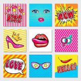 Fashion Pop Art Cards Stock Photo