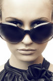 Fashion portrait. Woman in sun glasses. Fashion portrait stock photography