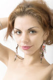 Fashion portrait. Portrait of the beautiful girl close up royalty free stock photos