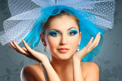 Fashion portrait. Glamour beautiful woman in veil hat Royalty Free Stock Photos