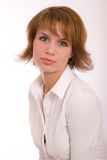 Fashion portrait. The beautiful girl with short hair royalty free stock photo