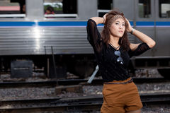 Fashion portrait asian girl Royalty Free Stock Image