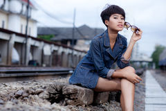Fashion portrait asian girl Stock Photos