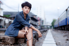 Fashion portrait asian girl Royalty Free Stock Photo
