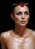Fashion portrait of attractive glamourous woman on black backgro. Und, fashion beauty concept Stock Images