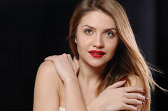 Fashion portrait of attractive young blonde woman with red lips Royalty Free Stock Photo