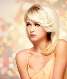Fashion portrait of a beautiful blond woman Stock Image