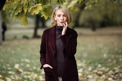 Fashion portrait of beautiful blonde woman in stylish clothes outdoor in autumn. Fashion portrait of beautiful blonde woman in stylish clothes outdoor in autumn Stock Image