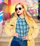 Fashion portrait beautiful blonde young woman in sun Royalty Free Stock Photography