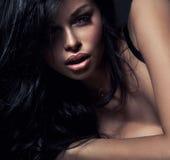 Fashion portrait. Of beautiful brunette woman royalty free stock photography